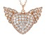 White Cubic Zirconia 18K Rose Gold Over Silver Heart Angel Wing Pendant With Chain 4.05ctw.