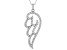 White Cubic Zirconia Rhodium Over Sterling Silver Angel Wing Pendang With Chain 1.09ctw