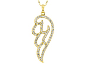 White Cubic Zirconia 18K Yellow Gold Over Sterling Silver Angel Wing Pendang With Chain 1.09ctw