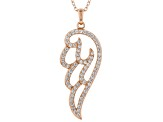 White Cubic Zirconia 18K Rose Gold Over Sterling Silver Angel Wing Pendang With Chain 1.09ctw