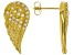 White Cubic Zirconia 18K Yellow Gold Over Sterling Silver Angel Wing Earrings 0.41ctw