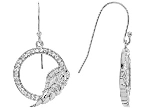 White Cubic Zirconia Rhodium Over Sterling Silver Angel Wing Earrings 0.75ctw