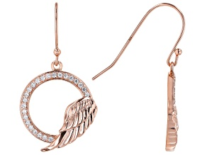 White Cubic Zirconia 18K Rose Gold Over Sterling Silver Angel Wing Earrings 0.75ctw