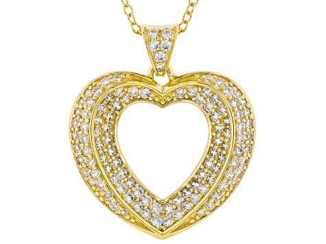 White Cubic Zirconia 18K Yellow Gold Over Sterling Silver Heart Pendant With Chain 1.59ctw