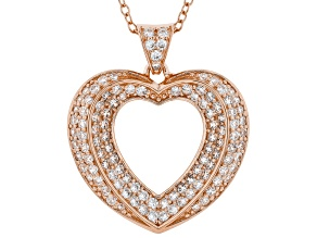 White Cubic Zirconia 18K Rose Gold Over Sterling Silver Heart Pendant With Chain 1.59ctw