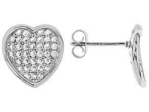 White Cubic Zirconia Rhodium Over Sterling Silver Heart Earrings 1.14ctw
