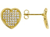 White Cubic Zirconia 18K Yellow Gold Over Sterling Silver Heart Earrings 1.14ctw