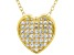 White Cubic Zirconia 18K Yellow Gold Over Sterling Silver Heart Pendant With Chain 0.64ctw