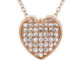 White Cubic Zirconia 18K Rose Gold Over Sterling Silver Heart Pendant With Chain 0.64ctw