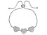 White Cubic Zirconia Rhodium Over Sterling Silver Adjustable Heart Bracelet 3.50ctw