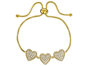 White Cubic Zirconia 18K Yellow Gold Over Sterling Silver Adjustable Heart Bracelet 3.50ctw
