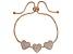 White Cubic Zirconia 18K Rose Gold Over Sterling Silver Adjustable Heart Bracelet 3.50ctw