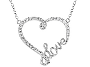 "White Cubic Zirconia Rhodium Over Sterling Silver Heart ""Love"" Necklace 0.50ctw"
