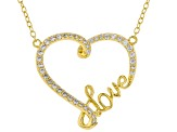 White Cubic Zirconia 18K Yellow Gold Over Sterling Silver Heart