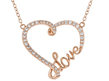 "Picture of White Cubic Zirconia 18K Rose Gold Over Sterling Silver Heart ""Love"" Necklace 0.50ctw"