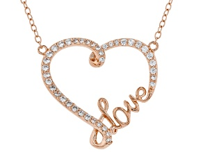 White Cubic Zirconia 18K Rose Gold Over Sterling Silver Heart