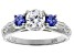 White And Blue Cubic Zirconia Rhodium Over Sterling Silver Ring 1.58ctw