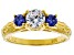 White And Blue Cubic Zirconia 18K Yellow Gold Over Sterling Silver Ring 1.58ctw