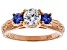 White And Blue Cubic Zirconia 18K Rose Gold Over Sterling Silver Ring 1.58ctw