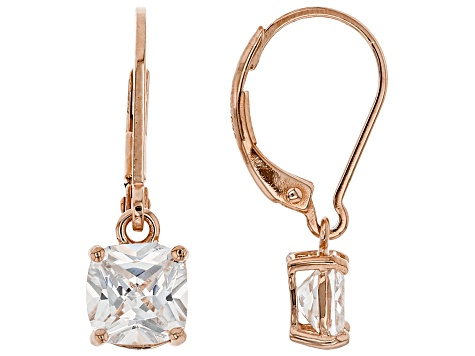 White Cubic Zirconia 18K Rose Gold Over Sterling Silver Earrings 2.91ctw
