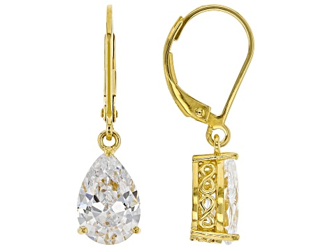 White Cubic Zirconia 18K Yellow Gold Over Sterling Silver Earrings 5.94ctw