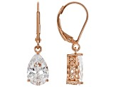 White Cubic Zirconia 18K Rose Gold Over Sterling Silver Earrings 5.94ctw