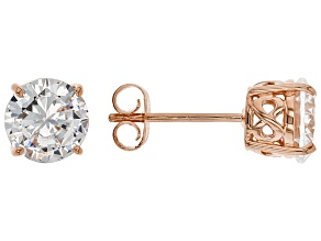 White Cubic Zirconia 18K Rose Gold Over Sterling Silver Stud Earrings 4.37ctw
