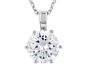 White Cubic Zirconia Rhodium Over Sterling Silver Solitaire Pendant With Chain 2.97ctw