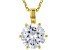 White Cubic Zirconia 18K Yellow Gold Over Sterling Silver Solitaire Pendant With Chain 2.97ctw