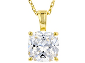 White Cubic Zirconia 18K Yellow Gold Over Sterling Silver Solitaire Pendant With Chain 3.15ctw