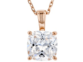 White Cubic Zirconia 18K Rose Gold Over Sterling Silver Solitaire Pendant With Chain 3.15ctw