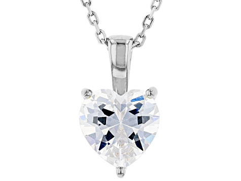 White Cubic Zirconia Rhodium Over Sterling Silver Heart Pendant With Chain 2.85ctw