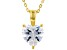 White Cubic Zirconia 18K Yellow Gold Over Sterling Silver Heart Pendant With Chain 2.85ctw