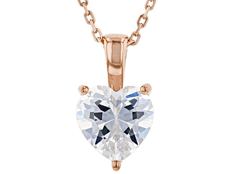 White Cubic Zirconia 18K Rose Gold Over Sterling Silver Heart Pendant With Chain 2.85ctw