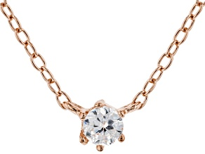 White Cubic Zirconia 18K Rose Gold Over Sterling Silver Necklace 0.14ctw