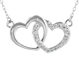White Cubic Zirconia Rhodium Over Sterling Silver Heart Necklace 0.23ctw
