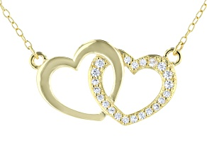 White Cubic Zirconia 18K Yellow Gold Over Sterling Silver Heart Necklace 0.23ctw