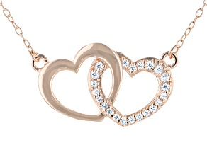 White Cubic Zirconia 18K Rose Gold Over Sterling Silver Heart Necklace 0.23ctw