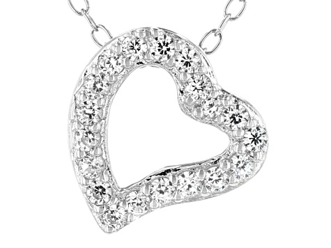 White Cubic Zirconia Rhodium Over Sterling Silver Heart Pendant With Chain 0.28ctw