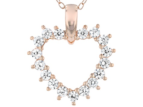 White Cubic Zirconia 18K Rose Gold Over Sterling Silver Heart Pendant With Chain 0.99ctw