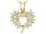 White Cubic Zirconia 18K Yellow Gold Over Sterling Silver Heart Pendant With Chain 1.57ctw