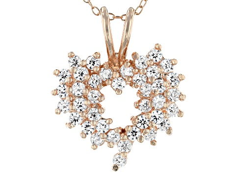 White Cubic Zirconia 18K Rose Gold Over Sterling Silver Heart Pendant With Chain 1.57ctw