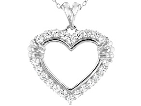 White Cubic Zirconia Rhodium Over Sterling Silver Heart Pendant With Chain 1.28ctw