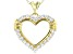 White Cubic Zirconia 18K Yellow Gold Over Sterling Silver Heart Pendant With Chain 1.28ctw