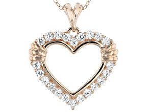 White Cubic Zirconia 18K Rose Gold Over Sterling Silver Heart Pendant With Chain 1.28ctw