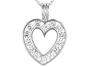 White Cubic Zirconia Rhodium Over Sterling Silver Heart Pendant With Chain 2.45ctw