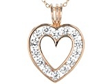 White Cubic Zirconia 18K Rose Gold Over Sterling Silver Heart Pendant With Chain 2.45ctw