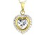 White Cubic Zirconia 18K Yellow Gold Over Sterling Silver Heart Pendant With Chain 2.63ctw