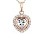 White Cubic Zirconia 18K Rose Gold Over Sterling Silver Heart Pendant With Chain 2.63ctw