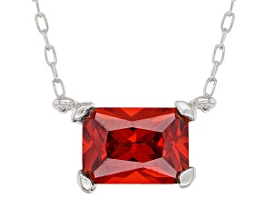 Orange Cubic Zirconia Rhodium Over Sterling Silver Necklace 1.48ctw